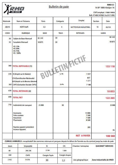 modele de bulletin de salaire cote d u0026 39 ivoire